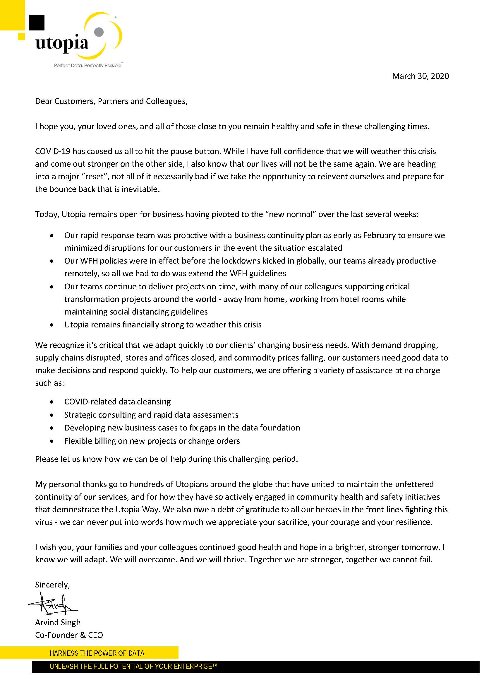 Letter from Utopia CEO (Mar 30, 2020)